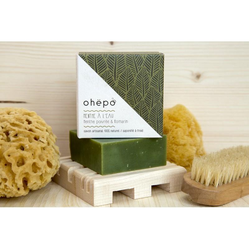 savon bio carré vert à la menthe poivrée
