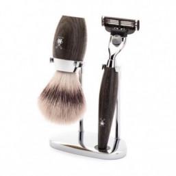 kit complet de rasage  avec manche en bois